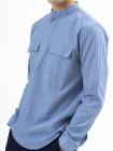 Áo Sơ Mi Kẻ Sọc Cổ Trụ ASM011 Màu Xanh