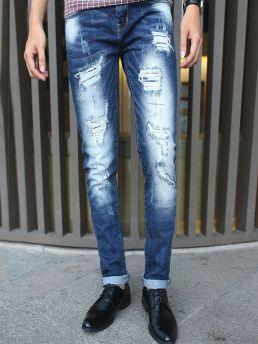 quan jean skinny rach xanh duong qj1379