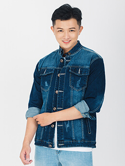 ao khoac jean xanh den ak216