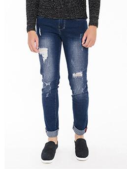quan jeans rach xanh den qj1545