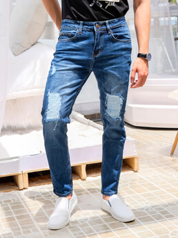 quan jeans rach xanh den qj1566
