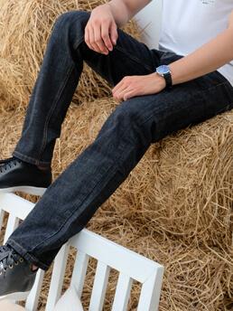 quan jeans ong dung xanh den qj1596