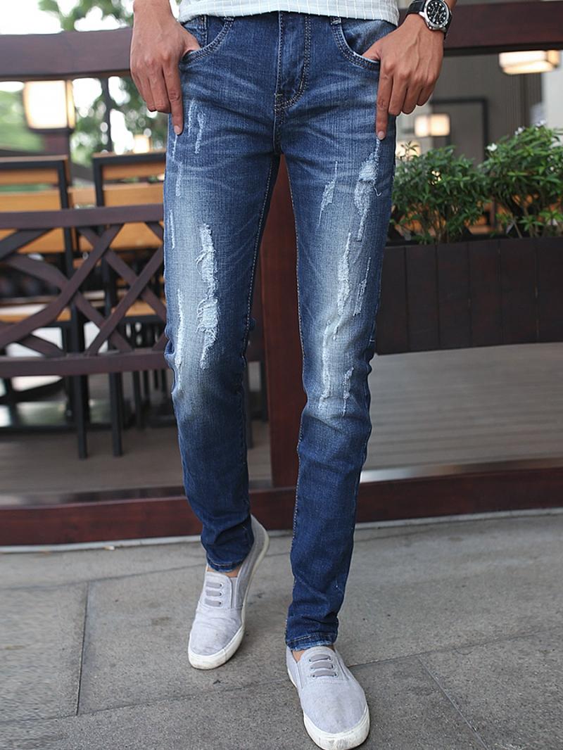 Quần Jean Skinny Rách Xanh Dương QJ1378