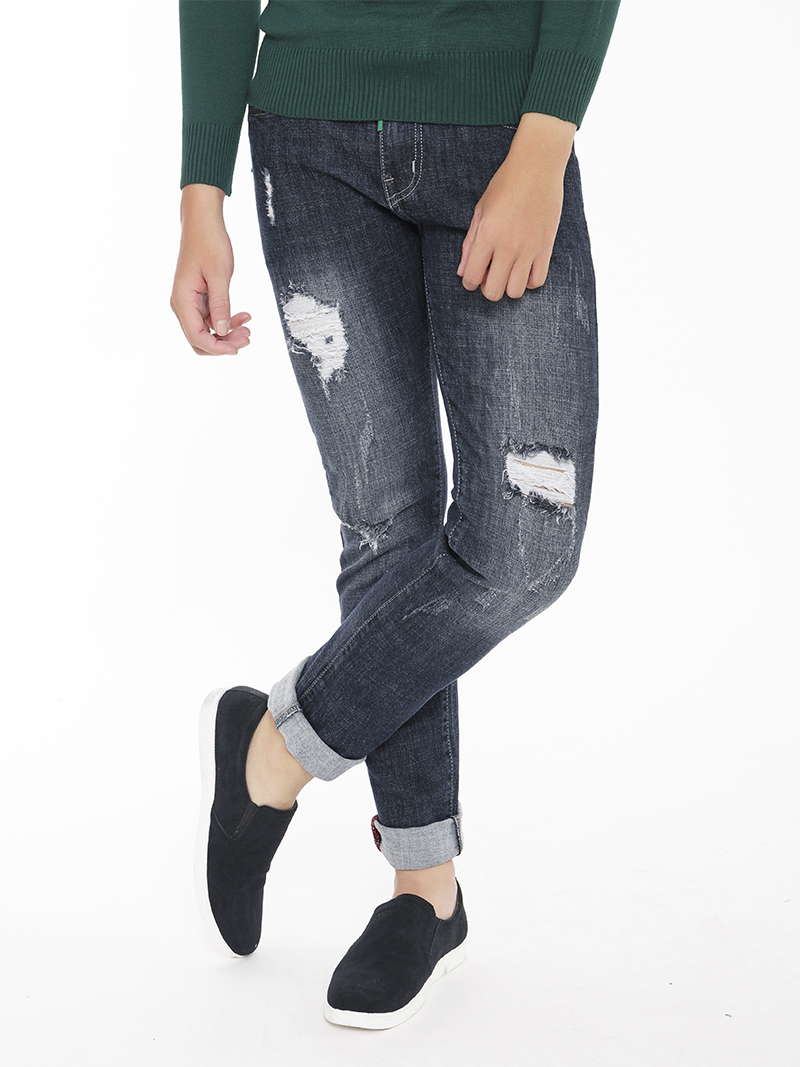 Quần Jeans Rách Xanh Đen QJ1546