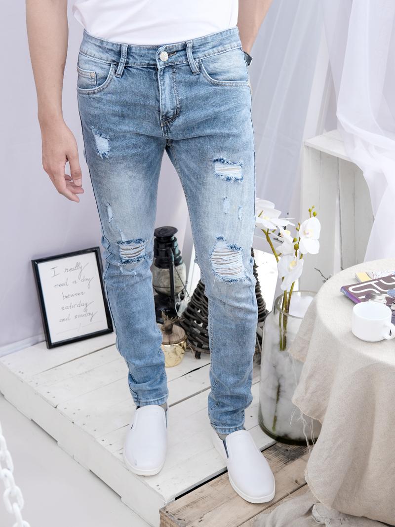 Quần Jeans Rách Xám QJ1602
