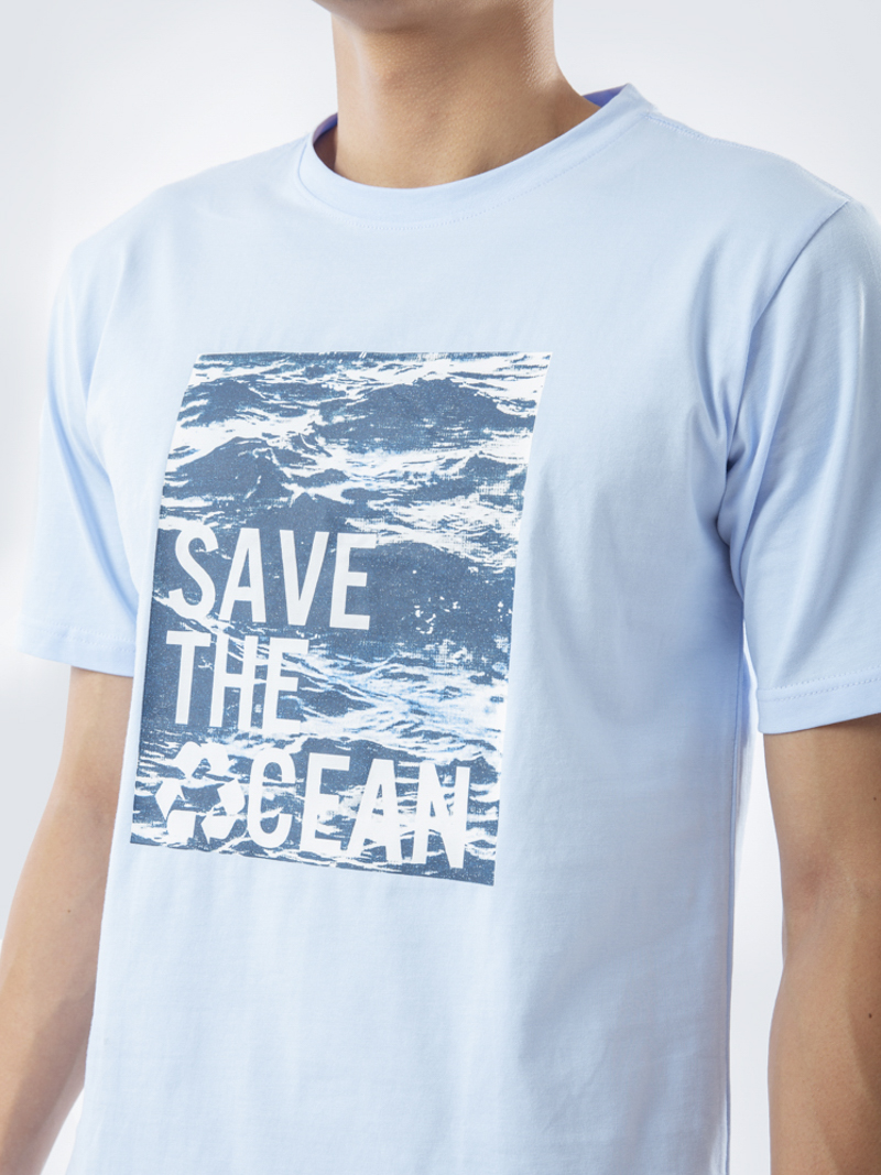 Áo Thun In Save The Oceans Xanh Biển AT832