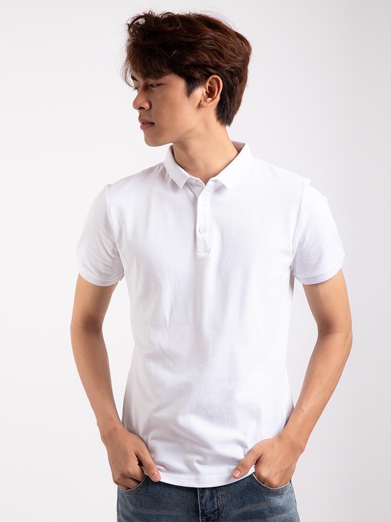 Áo Thun Polo Tay Bo Màu Trắng AT855
