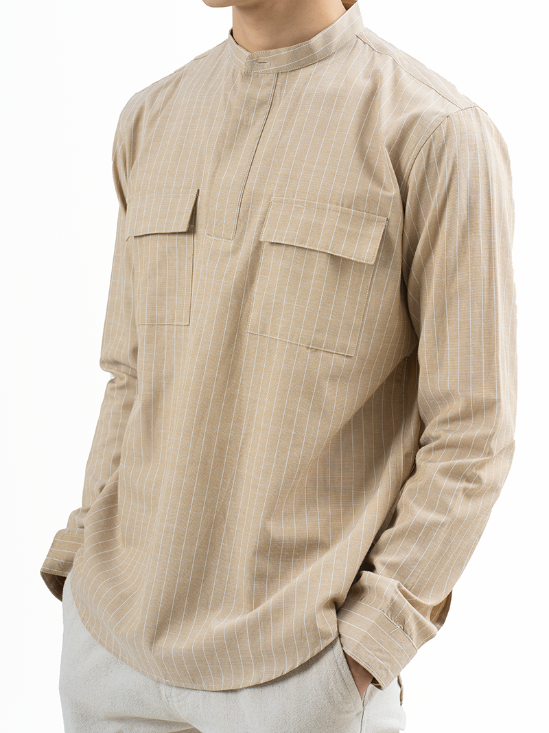 Áo Sơ Mi Kẻ Sọc Cổ Trụ ASM011 Màu Vàng